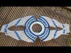 Pulsera macramé azul beige - YouTube