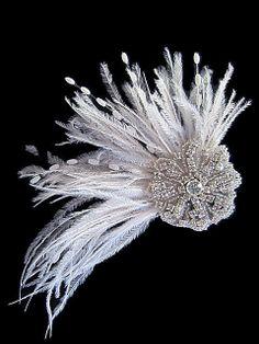 KRYSTAL -- Bridal Sparkly Rhinestone Feather Spray Flower Hair Clip Fascinator in Light Ivory or Soft White by flowerNsuffs