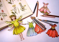 This listing is for one sheet of paper dolls based on my original Flower Fairy ink and watercolor painting. The sheet contains one flower fairy
