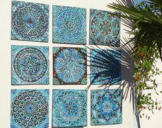 Outdoor Decorative Tiles Ceramic Mosaic Tiles  Vintage Colors Medallions Moroccan Tile