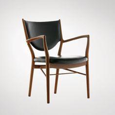 Finn Juhl : 46 Chair, 1946  Made by Niels Vodder. Teak and leather | [http://www.danish-furniture.com/designers/finn-juhl/#finn-juhl-46-chair] | #FinnJuhlYear