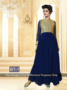 buy saree online Bollywood Inspire Navy Blue Colour Georgette Party Wear Gown…