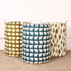 Large Capacity Folding Cotton Linen Canvas Laundry Hamper, Laundry Clothes…