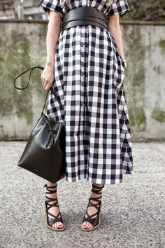 Lisa Marie Fernandez dress, Isabel Marant belt, Tibi shoes and Mansur Gavriel bag