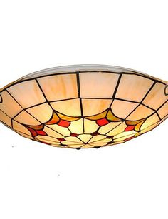 Vintage Chandeliers16inch Retro Ceiling Lamp Glass Shade Flush Mount Living Room Dining Light