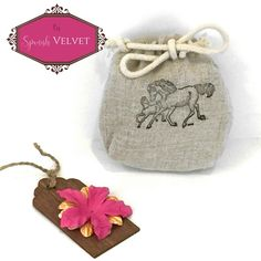 Party Favor Bag - Equestrian - Stamped Horse and Foal - Reusable Drawstring