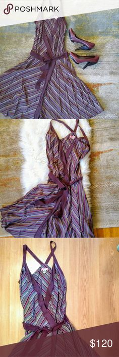 Lux Anthropologie Purple Stripe Twirl Dress, Sz M Flirty and feminine purple striped twirl dress from Lux for Anthropologie in a size medium.  Stunning in soft cotton and a plunging neckline, this wrap-style dress is a rare vintage Anthro collector's dream!  Worn once for a photo shoot then stored in the sweetest cedar wardrobe of all time 💜  Button closure at waist, and sewn-in cotton belting assures a perfect fit! Amazing at your next festival with cowboy booties or add a touch of 50s…
