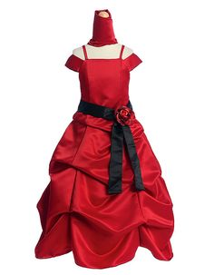 Flower Girl Dresses -Girls Dress Style Red Dress with Choice of 200 Sashes and Flowers Gown Style Dress, Dress P, Dress For You, Red Flower Girl Dresses, Girls Dresses, Bustle Skirt, Special Dresses, Junior Bridesmaid Dresses, Red Satin