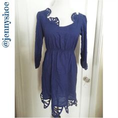 {anthropologie} 'lilka' blue fan dress Beautiful royal blue dress from Anthropologie. Brand is Lilka. Beautiful fan design. Gently worn. Elastic waist.  Size xs Anthropologie Dresses
