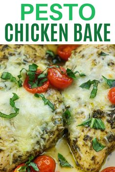 This pesto chicken bake recipe is made with just a handful of ingredients and ready in about 30 minutes! Turns out juicy and flavorful every time! Low Carb Dinner Recipes, Lunch Recipes, Cooking Recipes, Healthy Recipes, Keto Dinner, Meat Recipes, Free Recipes, Basil Pesto Chicken, Chicken Pesto Recipes