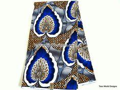 White Blue Brown Wax Block  Africa Fabric  Per by TessWorldDesigns, $7.50