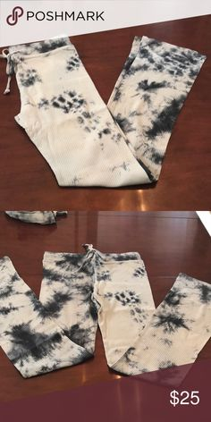 "Boho Tie Die Pant. Slate gray/blue/light gray 100% Cotton Waist is stretch elastic with 2 inch band Slit hem, see photo Slight bell bottom shape Length 42 inches Small waist 13 "" Medium 14"" Large 15"" Pants"