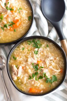Crock Pot Chicken Rice Soup is a simple and delicious comforting soup that is perfect for a cold winter night, filled with simple and wholesome ingredients. Crockpot Chicken Rice Soup, Creamy Chicken Rice Soup, Slow Cooker Thai Chicken, Crock Pot Soup, Slow Cooker Soup, Chicken Recipes, Chicken Soup, Breakfast Casserole With Biscuits, How To Cook Rice