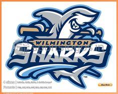 Wilmington Sharks Primary Logo on Chris Creamer's Sports Logos Page - SportsLogos. A virtual museum of sports logos, uniforms and historical items. Sports Baseball, Sports Art, Sports Logos, Softball, Sports Teams, Typography Logo, Logo Branding, Shark Logo, Team Mascots