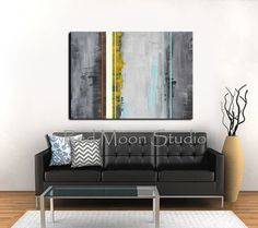 Too much yellow???? Dark Gray, Black, Yellow, Turquoise Abstract Painting - XLarge 48x36, Original Abstract Art on Etsy, $279.00