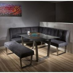 Luxury 8 seater Grey Suede Corner L-Bench chair glass top dining set 4 UK Dinning Table With Bench, Corner Bench Dining Table, Glass Dinning Table, Round Wood Dining Table, Square Dining Tables, Dining Room Sets, Dining Room Design, Bunk Bed Plans, Chair Bench