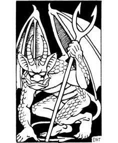 Malebranche, horned devil (Dave Trampier, AD&D Monster Manual, TSR, Dream Fantasy, High Fantasy, Fantasy Rpg, Dcc Rpg, Advanced Dungeons And Dragons, Black And White Artwork, Dnd Art, Game Props, Dnd Monsters