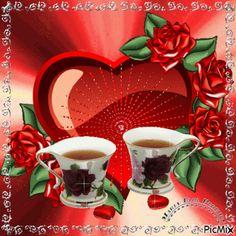maria eloi Good Morning My Love, Good Morning Coffee, Good Morning Flowers, Beautiful Morning, Good Morning Quotes, Flowers Gif, Beautiful Rose Flowers, Beautiful Gif, Animated Heart