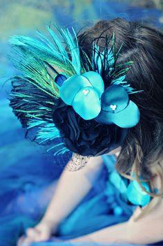 Peacock Feather Fascinator Headband or Clip...