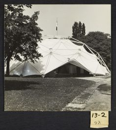 Citation: Buckminster Fuller's geodesic dome at the Milan Triennale, 1957 / Esther McCoy, photographer. Esther McCoy papers, Archives of American Art, Smithsonian Institution.