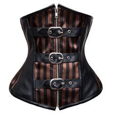 Women's Steampunk Front Zipper Buckles Pinstripe Underbust Corset https://www.steampunkartifacts.com/collections/steampunk-wrist-watches