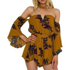 1d4f592c35d Off Shoulder Boho Floral Print Ruffle Romper - Trendsology Rompers Dressy