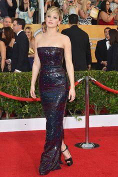 Jennifer Lawrence in Dior once again, multicolor sequins make it fun.  #SAGAwards 2014