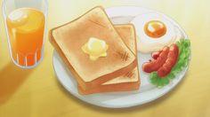 Toast, sunny side-up Egg & Sausages. Food Kawaii, Cute Food, Yummy Food, Anime Bento, Real Food Recipes, Dessert Recipes, Anime Gifs, Food Sketch, Food Drawing