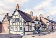 The Hawk Inn, Haslington, Cheshire. A watercolour by Sylvia Twiss All Design, England, Watercolor, House Styles, Gallery, Paintings, Artwork, Prints, Cards