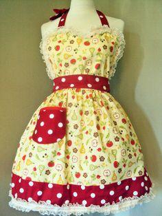 Vintage Apron | .com/itm/Vintage-style-retro-apron-Full-womens-apron-Sweetheart-apron ...