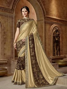 Golden Lycra Net Jewel Lace Party Wear Designer Saree Take a more relaxed approach towards fashion wearing this golden color party wear saree. Team this beautiful saree with matching ethnic jewelry to make your looks more beautiful. Ideal for wedding, p Sari Design, Indian Dresses, Indian Outfits, Indian Clothes, Beau Sari, Golden Saree, White Saree, White And Gold Saree, Trendy Sarees