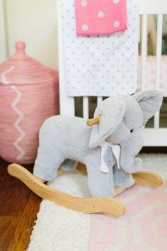Adorable elephant rocker for child's nursery.