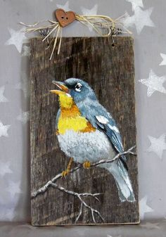 Wood Profit - Woodworking - Northern Parula songbird authentic barnwood rustic hand Discover How You Can Start A Woodworking Business From Home Easily in 7 Days With NO Capital Needed! Pallet Painting, Pallet Art, Tole Painting, Painting On Wood, Painting & Drawing, Rustic Painting, Pintura Tole, Rustic Art, Driftwood Art