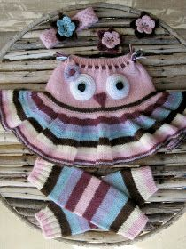 : Owl Skirty Ensemble -- no pattern yet. Keep tabs on site Crochet Owls, Knit Crochet, Baby Knitting Patterns, Crochet Patterns, Knit Baby Pants, Crochet Leg Warmers, Handmade Baby Clothes, Baby Sewing, Yarn Crafts