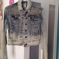 Xhilration acid wash studded denim jacket Worn once acid wash denim jacket with studs Xhilaration Jackets & Coats Jean Jackets