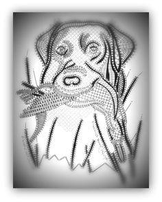 LABRADOR ET SARCELLE Labrador, Bobbin Lace Patterns, Needle Lace, Lace Making, String Art, Pet Birds, Creations, Drawings, Bobbin Lace