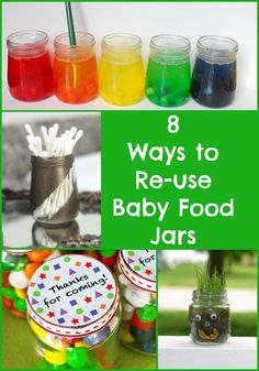 Have lots of baby food jars? Be thrifty and reuse them with these 8 Ideas for how to re-use Baby Food Jars.