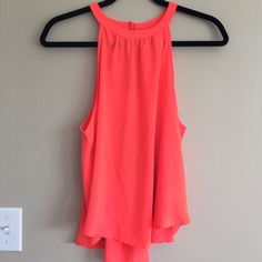 Open Back Blouse Fun electric pink/coral open back top ASTR Tops Tank Tops