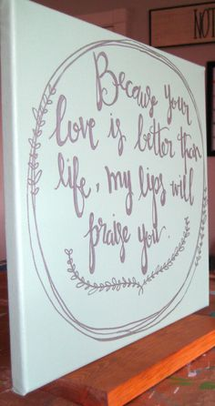 Hand lettered bible verse canvas wall decoration. by KuhLigRuhFee