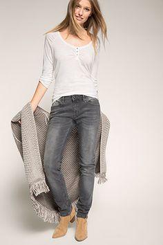 Esprit / Rauleder Bootie mit Zipper Stretch Jeans, Neue Trends, Booty, Zipper, Grey, Pants, Fashion, Women's, Ash