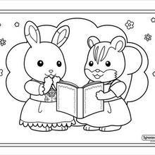 Coloriage : Fille lapin et fille écureuil