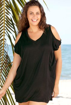 Beach Belle Black V-Neck Slit Shoulder Tunic(Come on get your gift swim suits and dresses at swimsuit for women)