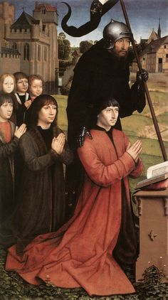 TRIIPTYCH OF THE MOREEL FAMILY -  MEMLINC Hans - (left wing detail) 1484
