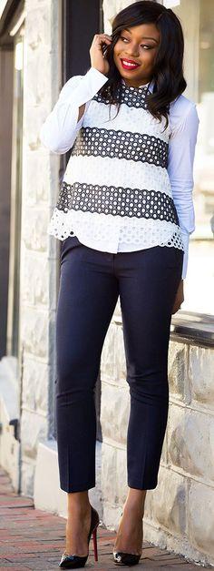 Jadore-fashion Black And White Eyelet Top Fall Inspo