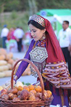 A Turkmen woman in traditional dress, Turkmenistan