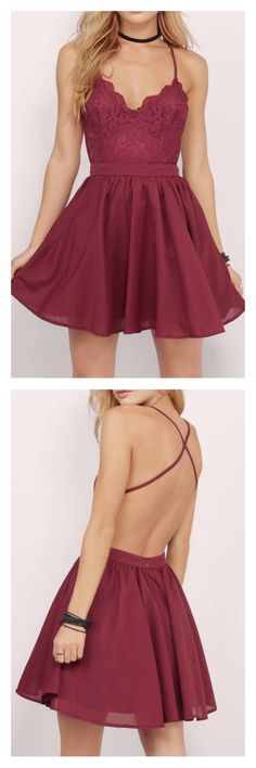 homecoming dresses 2017, backless homecoming dresses, cross back homecoming dresses, short mini homecoming dresses, burgundy homecoming dresses,lace homecoming dresses, cute graduation dresses, cocktail dresses, party dresses #homecomingdresses #SIMIBridal