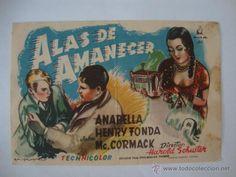 ANTIGUO PROGRAMA MANO ALAS DE AMANECER HENRY FONDA CINE POMARES LA HOYA ELCHE, AÑOS 40/50