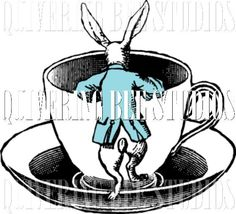 White Rabbit and Tea Cup Digital Graphic by QuiveringBeeStudios