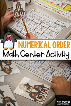 Kindergarten math centers for winter. Students will practice numerical order with this fun activity for student independent work.