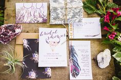 Boho wedding or bridal shower invitation available on Etsy: HeraPapergoods shop  By Hera Mariages  www.heramariages.com